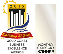 Gold Coast Business Awards Monthly Winner in 2015