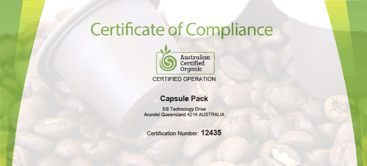 Capsule Pack is now Organic Certified